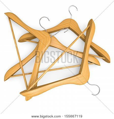 Pile of wooden hangers on white background. 3d illustration.