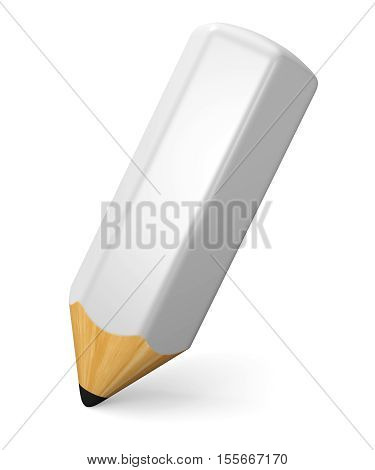 Writing and drawing concept. White pencil isolated on white background. 3d illustration.