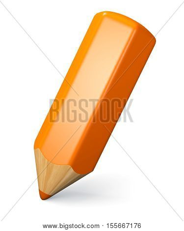 Writing and drawing concept. Orange pencil isolated on white background. 3d illustration.