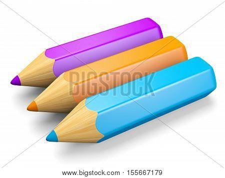 Set of colorful pencils: blue orange violet. Isolated on white. 3d illustration.