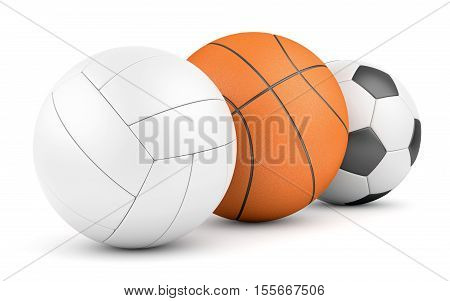 Team sport game concept. Volleyball basketball and soccerball in row isolated on white. 3D illustration
