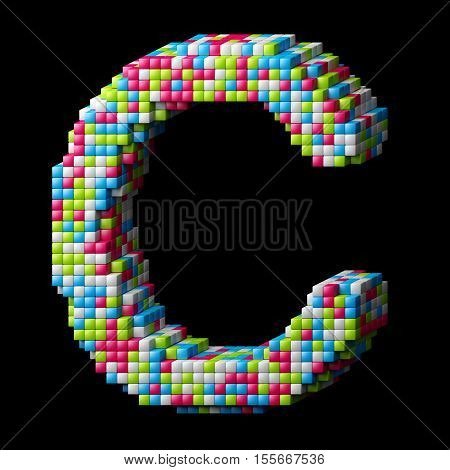Pixelated alphabet. Letter C made of glossy cubes isolated on black. 3D illustration