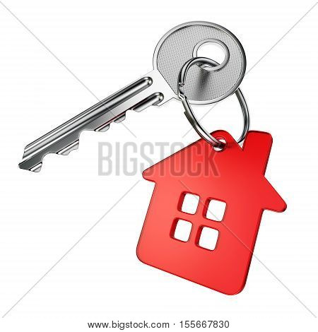 Metal door key with red house-shape trinket isolated on white background. 3D illustration