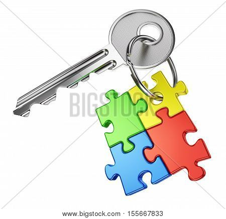 Solution problem and business success concept. Nickel door key with keyring from four color puzzle pieces isolated on white background. 3D illustration