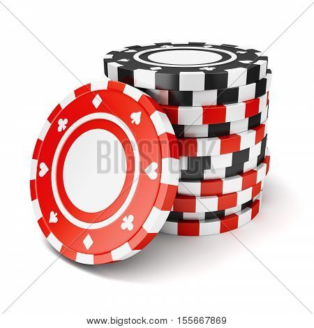 Black and red casino tokens pile isolated on white background. 3D illustration