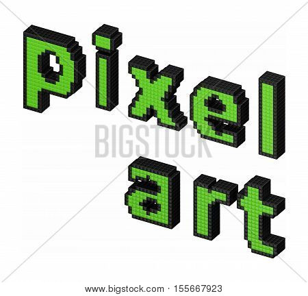 3d Pixel art text made of pixel blocks isolated on white background. 3D illustration