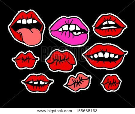Fashion modern doodle cartoon patch badges or stikers with sexy kiss red lips. Set of cartoon pins in 80s 90s pop art. Vector Illustration.