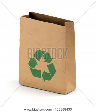 Brown kraft paper lunch bag with recycling symbol isolated on white background. 3D illustration