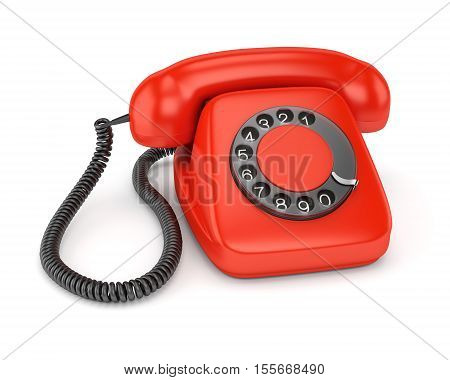 Red retro rotary dial telephone isolated on white background. 3D illustration