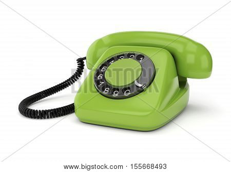 Green retro rotary dial telephone isolated on white background. Realistic 3D illustration.