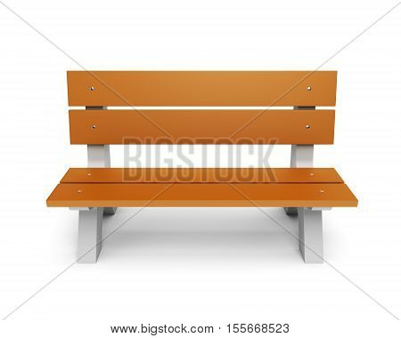 Brown wooden park bench isloated on white background. 3D illustration