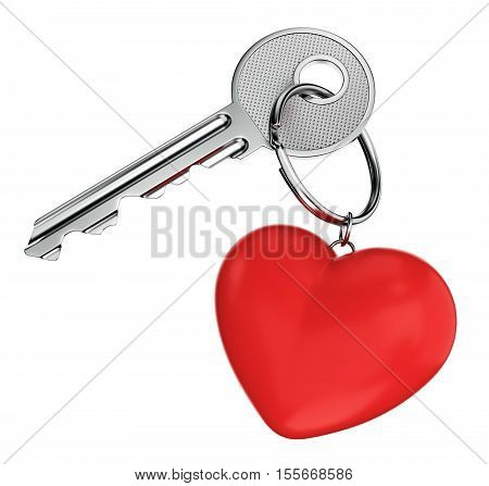 Love relationship wedding and Valentines day concept. Nickel door key with red heart shaped keyring isolated on white background. 3D illustration