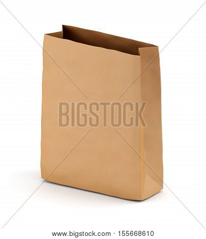 Brown kraft paper lunch bag isolated on white background. 3D illustration