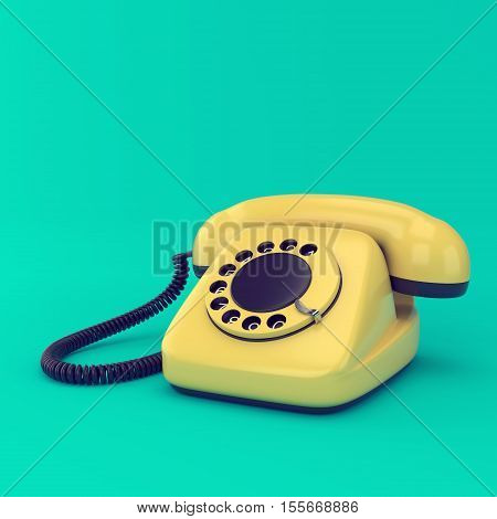 Yellow retro telephone on blue background. Vintage rotary dial phone technology 3d illustration