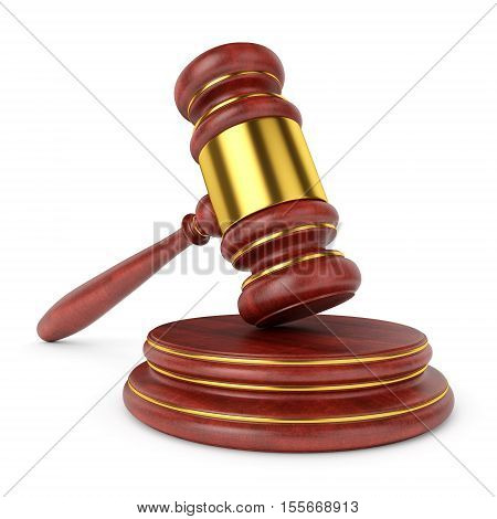Wooden judge gavel with stand isolated on white background. Law and auction concept. 3D illustration
