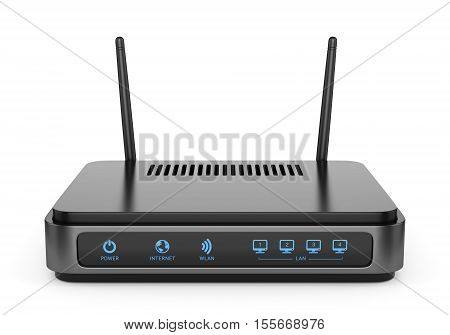 Modern wireless wi-fi router with two antennas isolated on white background. High speed internet connection computer network and telecommunication technology concept. 3D illustration