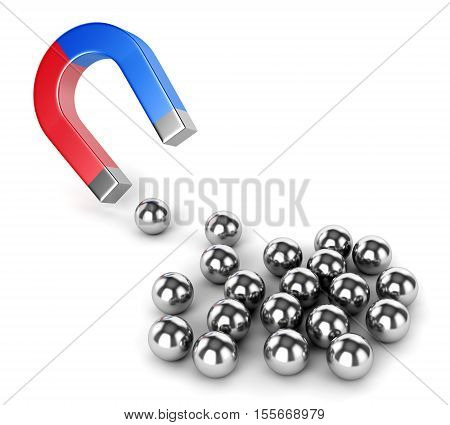 Internet advertisement technology search engine optimization and business concept. Horseshoe magnet capturing group metal spheres isolated on white background. 3D illustration