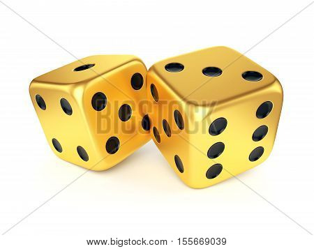 Golden dices isolated on white background. Gambling card game casino and luck concept. 3D illustration