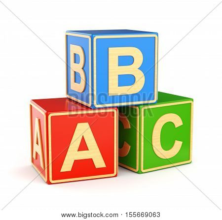 Alphabet ABC cubes with letters isolated on white background. Back to school and education concept. 3D illustration