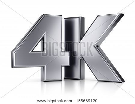 4K ultra high definition television technology logo icon isolated on white background with reflection effect. 3D illustration