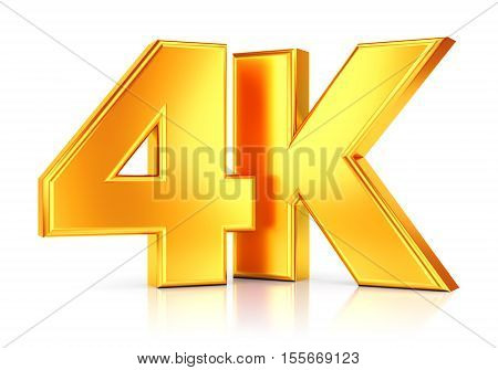 4K ultra high definition television technology golden logo icon isolated on white background with reflection effect. 3D illustration