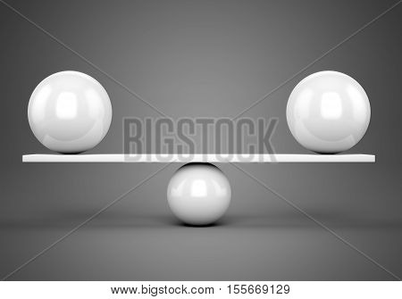 Abstract balance and harmony concept. White glossy balls on plank over gray background. 3D illustration