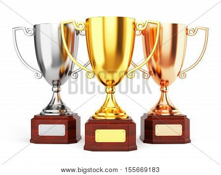 Golden silver and bronze trophy cups isolated on white background. Three award goblet trophies. 3D illustration