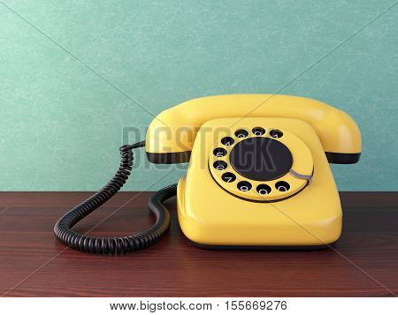 Yellow retro rotary dial telephone on wooden table. Vintage 3D illustration.