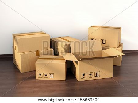 Cardboard boxes on wooden floor in new house interior. Housing real estate and moving concept. 3D illustration