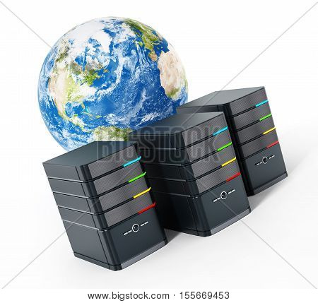 Black computer cases in front of the earth model. 3D illustration.