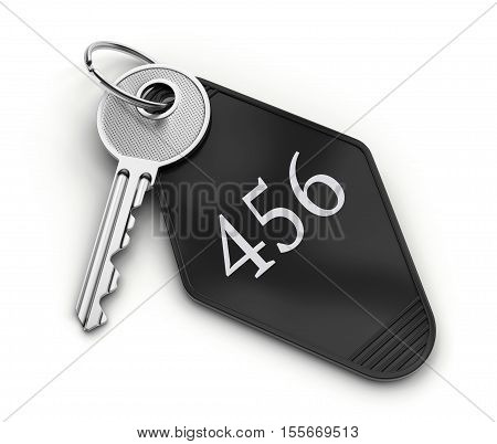 Hotel room key with number isolated on white background. 3D illustration