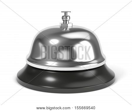 Reception bell with button isolated on white background. 3D illustration