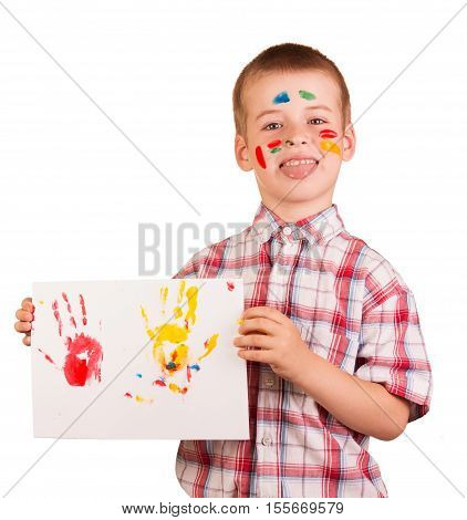 A naughty boy drawing paints isolated on white background.