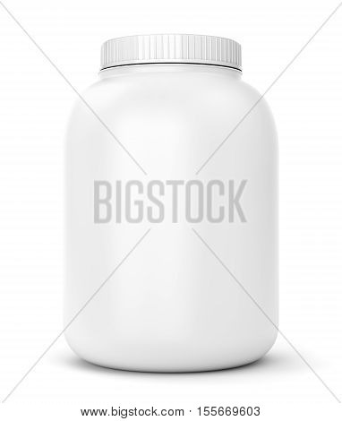 Bodybuilding supplements: can of protein or gainer powder isolated on white background. 3D illustration