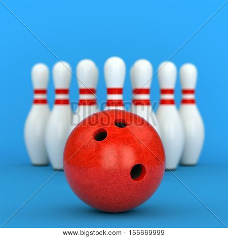 Bowling Ball And Pins On Blue Background