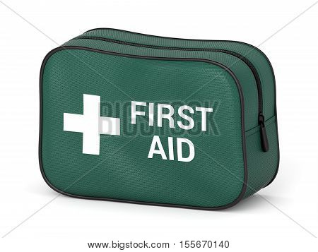 First aid kit: green fabric bag with medical cross symbol and text isolated on white background. 3D illustration