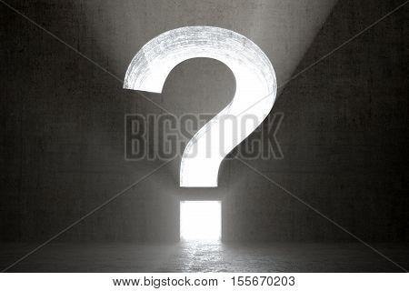 Question Mark In Dark Room