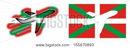 Nation Flag - Airplane Isolated - Basque Country