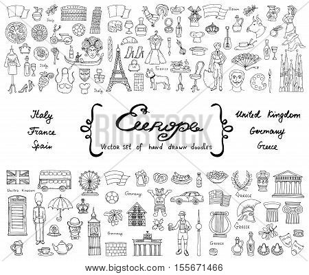 Vector set with hand drawn isolated doodles on the theme of European countries - Italy France Spain United Kingdom Germany Greece. Tourism travel and symbols. Sketches for use in design