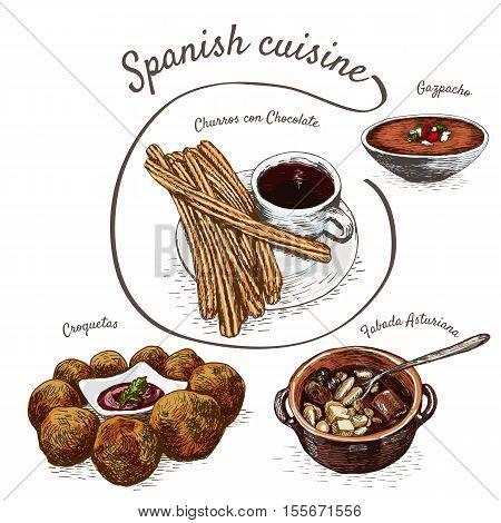 Menu of Spain colorful illustration. Vector illustration of Spanish cuisine.