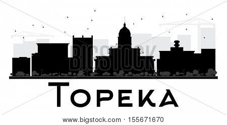 Topeka City skyline black and white silhouette. Simple flat concept for tourism presentation, banner, placard or web site. Business travel concept. Cityscape with landmarks