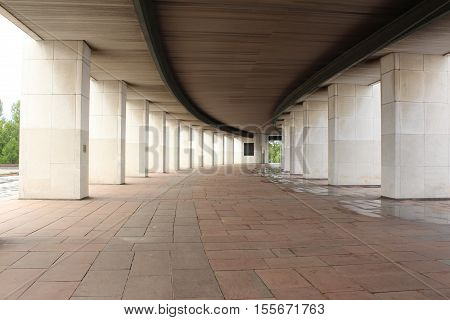 Colonnade of the Central Museum of the Great Patriotic War on Poklonnaya Hill in Moscow