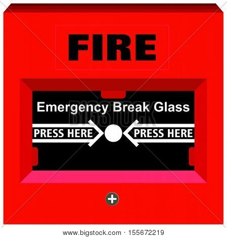 Vector Fire Alarm Emergency Break Glass Press Here warning tool device red box button for building safety to save people life panel to avoid hazard fixed on walls all over the facility and offices