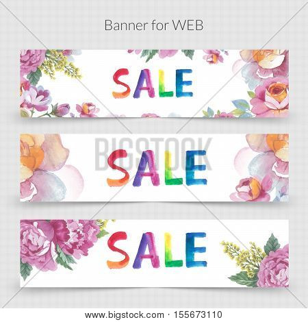 Wildflower promo sale banner template for web in a watercolor style isolated. Aquarelle wildflower promo sale banner template for background, texture, wrapper pattern, frame or border.