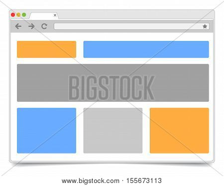 Responsive Design - Simple Opened Browser Window On White Background With Shadow. Browser Template /