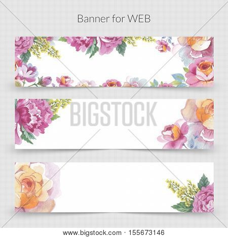 Wildflower promo banner template for web in a watercolor style isolated. Aquarelle wildflower promo banner template for background, texture, wrapper pattern, frame or border.