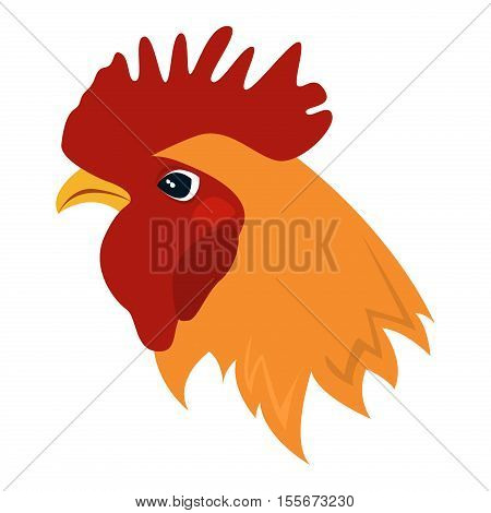 Rooster red crest drawing chicken vector. Brown leghorn rooster bird design animal. Multicolored rooster farm chinese bird. Colored rooster leghorn cockerel year beautiful decoration.