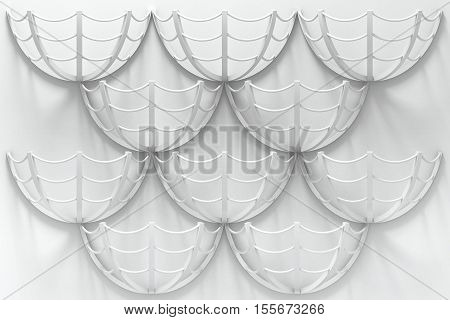 3d illustration. Abstract architectural white background based on stylized shape of umbrella or web. Render.