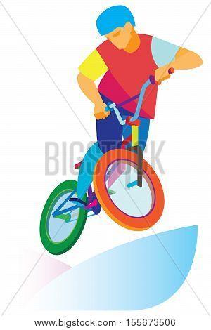 the young man riding a BMX bicycle