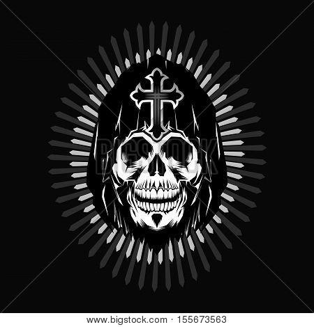 Grim reaper head design on gray background
